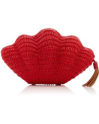 Kayu - M'o Exclusive Jane Leather-trimmed Straw Clutch - Lyst