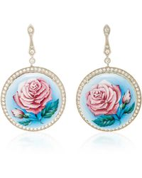 Axenoff Jewellery - La Vie En Rose Silver Drop Earrings - Lyst