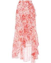Costarellos - Asymmetric Printed Georgette Skirt - Lyst