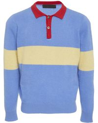 The Elder Statesman - Exclusive Rugby Stripe Cashmere Collared Shirt - Lyst