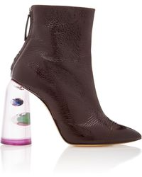Ellery | Patent Leather And Marbled Perspex Ankle Boots | Lyst