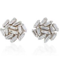 Suzanne Kalan | 18k White Gold Diamond Earrings | Lyst