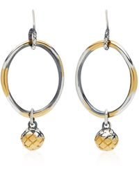 Bottega Veneta - Antique Silver Drop Hoop Earrings - Lyst