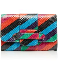 Michino Paris - Striped Phedra Pm Clutch In Watersnake - Lyst