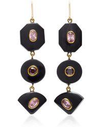 Ashley Pittman | Zambarau Dark Horn, Rose Quartz And Garnet Earrings | Lyst