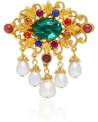 Ben-Amun - Gold-plated Brass, Faux Pearl And Crystal Brooch - Lyst