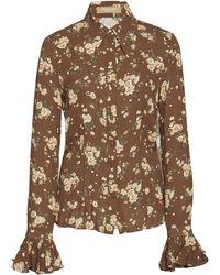 Michael Kors - Crushed Bell Sleeve Silk Shirt - Lyst