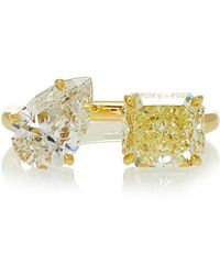 Jemma Wynne - One Of A Kind White And Canary Diamond Open Ring - Lyst
