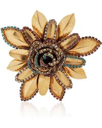Erickson Beamon | Vermeil Bouquet 24k Gold-plated Crystal Brooch | Lyst