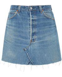 RE/DONE - High-rise Denim Mini Skirt - Lyst