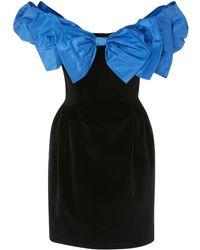 Isa Arfen - Bow Wow Off The Shoulder Velvet Mini Dress - Lyst