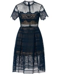 Self-Portrait - Felicia Embroidered Sheer Lace Dress - Lyst