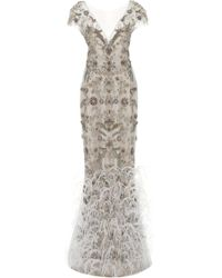 Marchesa - Ostrich Feather Embroidered V-neck Column Gown - Lyst