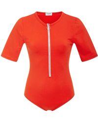 FRAME - Zip Up Cotton Bodysuit - Lyst