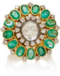 Amrapali - One-of-a-kind Diamond And Emerald Cocktail Ring - Lyst