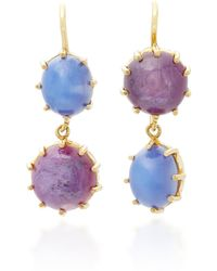 Renee Lewis | 18k Gold Star Ruby And Sapphire Earrings | Lyst