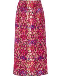 Prabal Gurung - Side Slit Floral Brocade Pencil Midi Skirt - Lyst