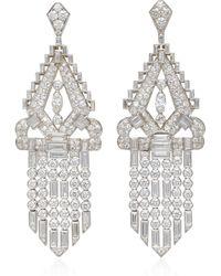 Fred Leighton - One-of-a-kind Art Deco Diamond Double Dress Clip Fringe Pendant Earrings - Lyst