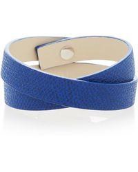 Valextra - Double Wrap Leather Bracelet - Lyst