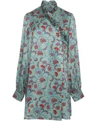 Seren London - Minnie Printed Silk A-line Mini Dress - Lyst