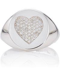 Emily & Ashley - White Gold Diamond Heart Signet Pinky Ring - Lyst