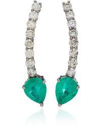 Jack Vartanian - 18k White Gold, Emerald An Diamond Earrings - Lyst