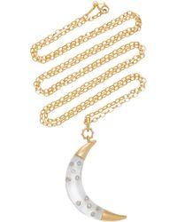 Monica Rich Kosann - 18k Gold, Diamond, And Rock Crystal Moon Necklace - Lyst