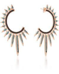 Nickho Rey - Sunburst Turquoise And Black Spinel 14k Rose Gold Vermeil Hoop Earrings - Lyst