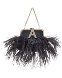 Attico - Ostrich Feather Embellished Mini Taffeta Doctor Bag - Lyst 58ba3bac8f217