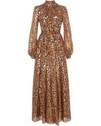 Giambattista Valli - Floral Metallic Silk-blend Maxi Dress - Lyst