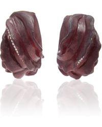 Silvia Furmanovich - Sculptural Botanical Marquetry Leaf Earrings - Lyst