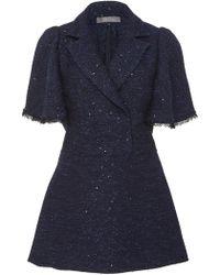 Lela Rose - Flutter Sleeve Sequined Tweed Blouse - Lyst