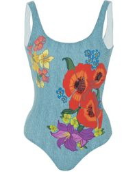 Onia - Kelly Printed Denim Swimsuit - Lyst