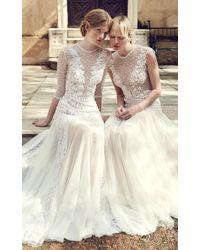 Costarellos Bridal - Sheer Embellished Low-waist Bodice Dress - Lyst