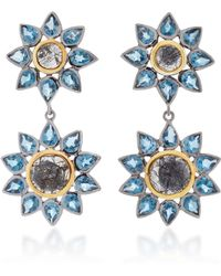 She Bee | Rhodium-plated Blue Topaz And Quartz Drop Earrings | Lyst