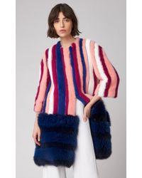 Carolina Herrera - Striped Mink Fur Coat - Lyst