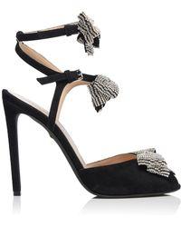 1fa0b14f8cd9 Giambattista Valli - Strass-embellished Bow-detailed Suede Stiletto Sandals  - Lyst