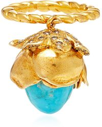 Sylvie Corbelin - One-of-a-kind Mobile Turquoise Flower Ring - Lyst