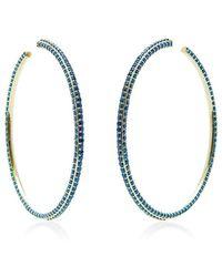 Sabine G - Blue Topaz Memphis Inflated Hoop Earring - Lyst