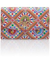 Dolce & Gabbana - Printed Leather Chain Wallet - Lyst