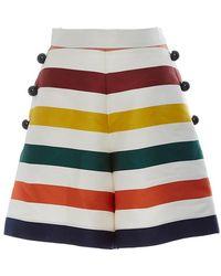 Carolina Herrera - High Rise Striped Mini Shorts - Lyst