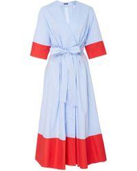 b8f5cdab00 MDS Stripes Sleeveless Button Down Shirtdress in Blue - Lyst