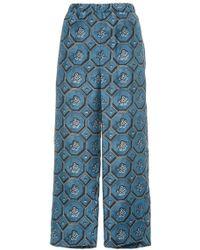 Burberry - Printed Silk Pajama Pants - Lyst