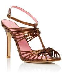 Paule Ka - Bronze Strappy Open Toed Sandal Court Shoes - Lyst