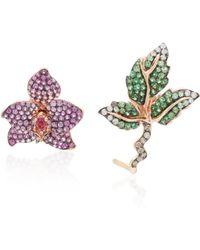 Wendy Yue - Asymmetric Rose Gold, Multi-stone Earrings - Lyst
