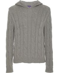 Ralph Lauren - Cable Knit Cashmere Hoodie - Lyst