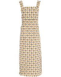 Oscar de la Renta - Geometric Check Sleeveless Midi Dress - Lyst