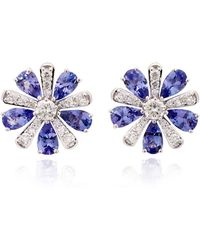 Hueb - M'o Exclusive 18k White Gold, Tanzanite And Diamond Earrings - Lyst