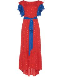 DHELA - Embroidered Flowers Red Dress - Lyst