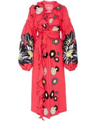 Yuliya Magdych - Loves Me Loves Me Not Embroidered Linen Midi Caftan - Lyst